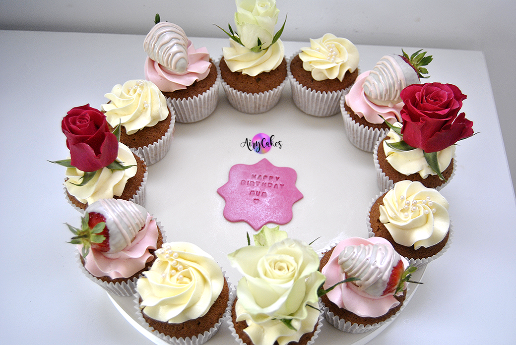 Rose and Strawberry Cupcake Board