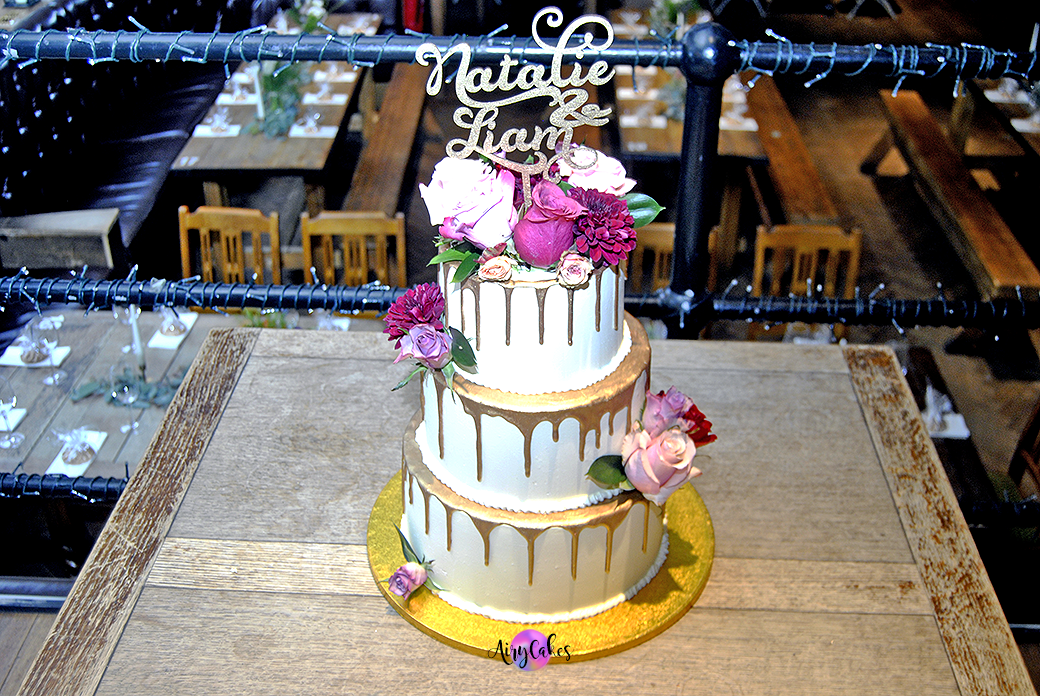 Gold Drip Wedding Cake with Flowers
